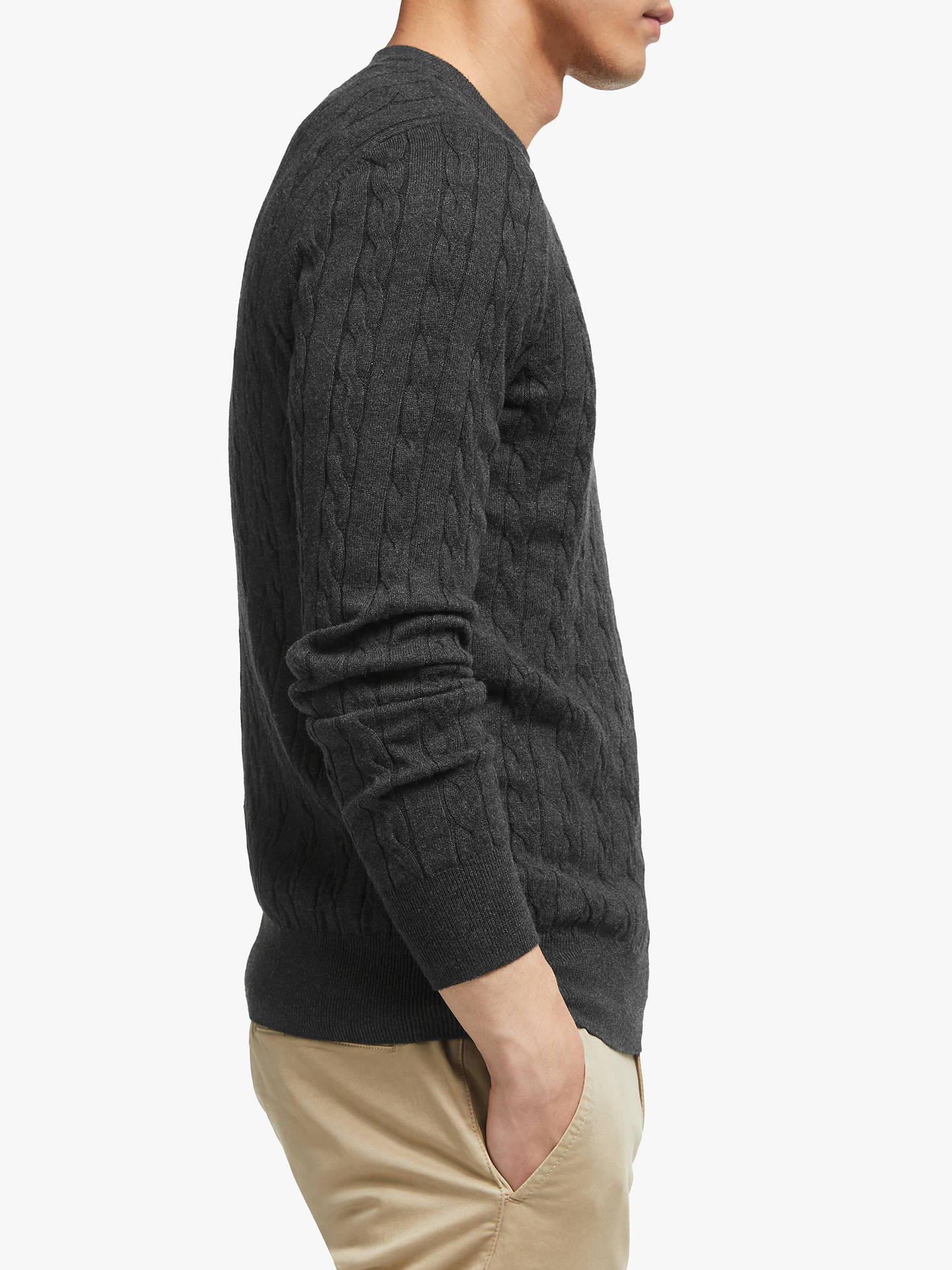 Buy John Lewis & Partners Cotton Cashmere Cable Knit Jumper, Charcoal, XS Online at johnlewis.com