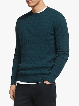 John Lewis & Partners Cotton Cashmere Cable Knit Jumper