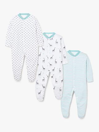 ANYDAY John Lewis & Partners Baby GOTS Organic Cotton Giraffe Sleepsuit, Pack of 3, Multi