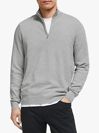 John Lewis & Partners Cotton Cashmere Seed Stitch Half Zip Jumper