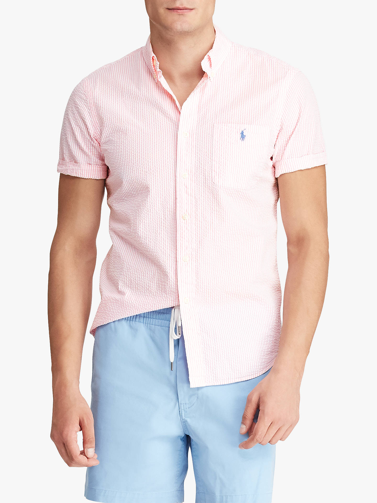 727080bab Buy Polo Ralph Lauren Seersucker Shirt, Pink/White, XL Online at johnlewis.