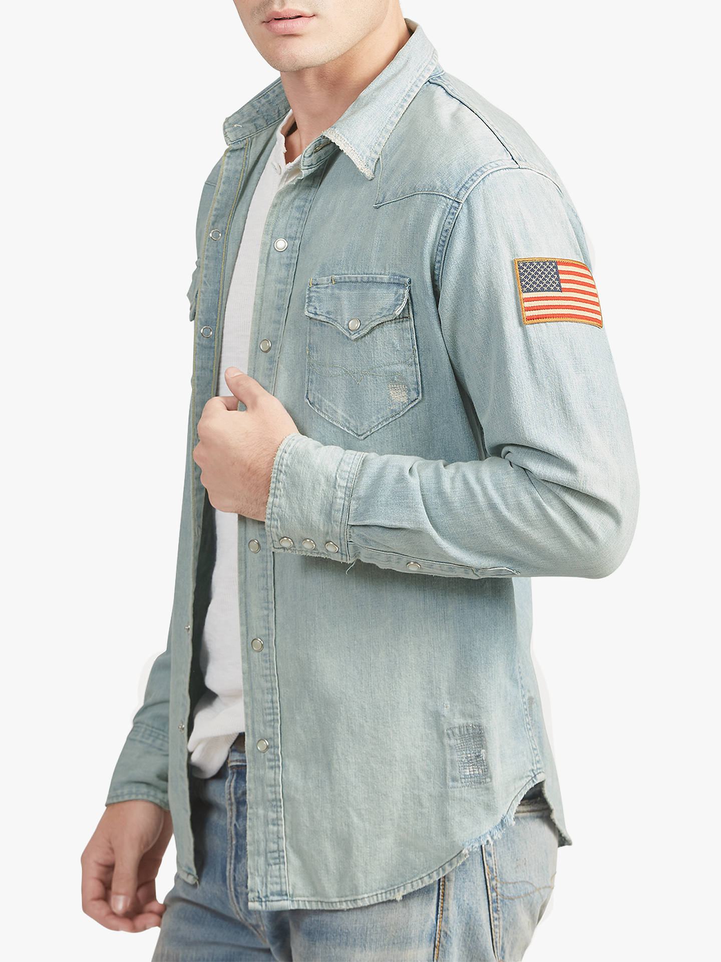 9be71de3b7b ... Buy Polo Ralph Lauren Western Denim Shirt, Weston, XL Online at  johnlewis.com