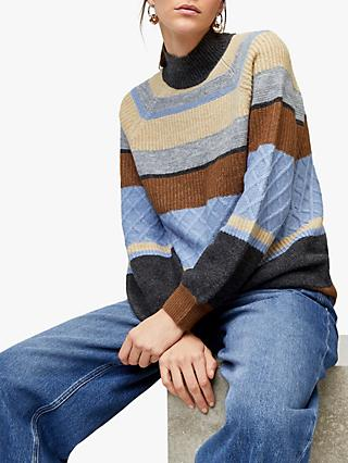 Warehouse Cosy Stripe Jumper, Grey Stripe