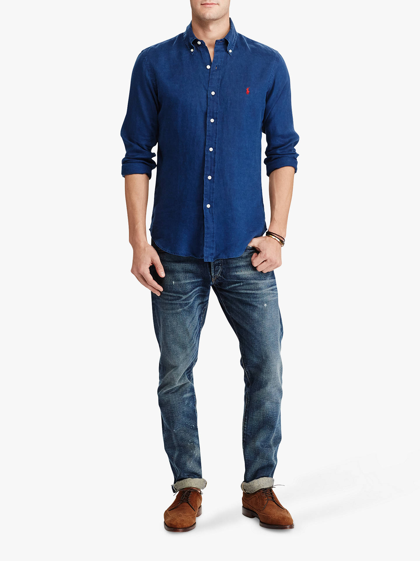Buy Polo Ralph Lauren Linen Long Sleeve Shirt, Holiday Navy, M Online at johnlewis.com