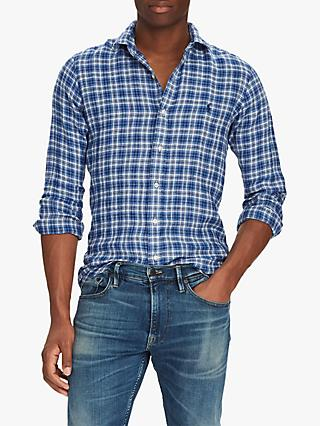 3b7419e6 Polo Ralph Lauren Linen Plaid Slim Fit Shirt, Azure/Navy Multi