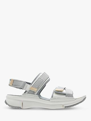 Clarks Tri Walk Strap Sandals, White Combi Leather