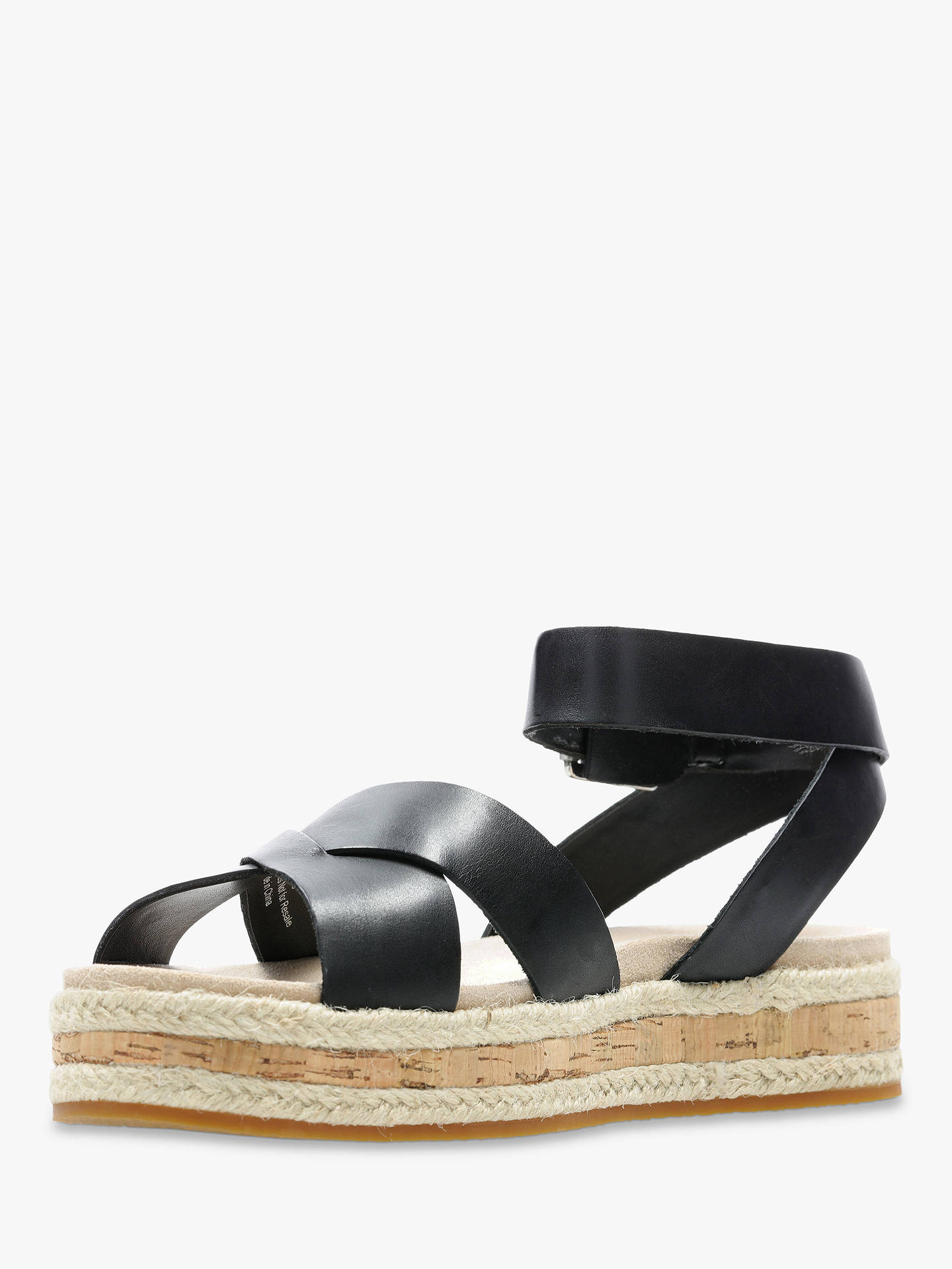 Buy Clarks Botanics Poppy Sandals, Black Leather, 3 Online at johnlewis.com