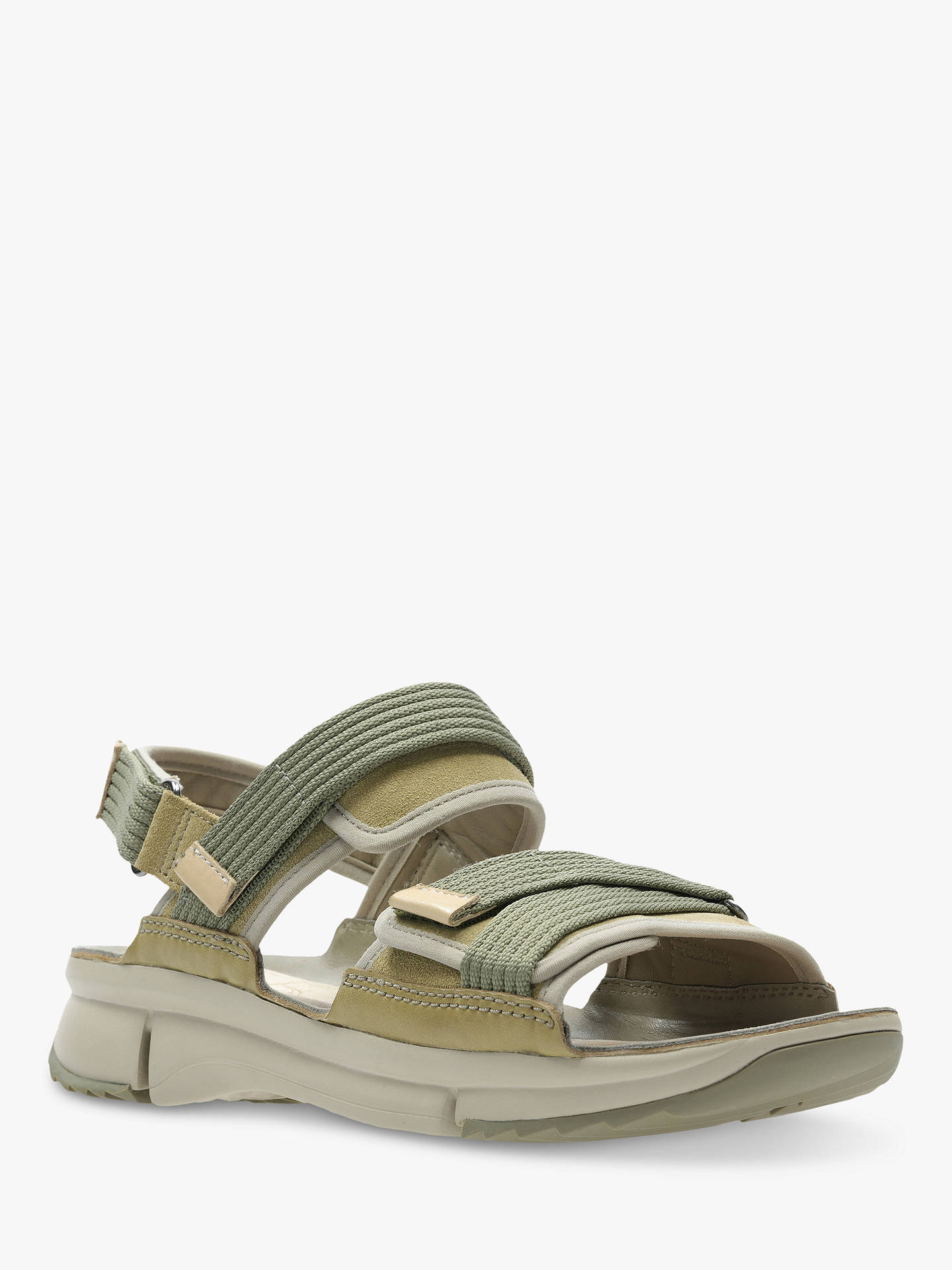 Buy Clarks Tri Walk Strap Sandals, Khaki Combi Suede, 3.5 Online at johnlewis.com