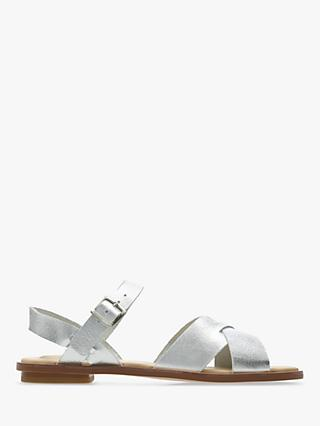 Clarks Willow Gild Cross Strap Sandals, Silver Leather
