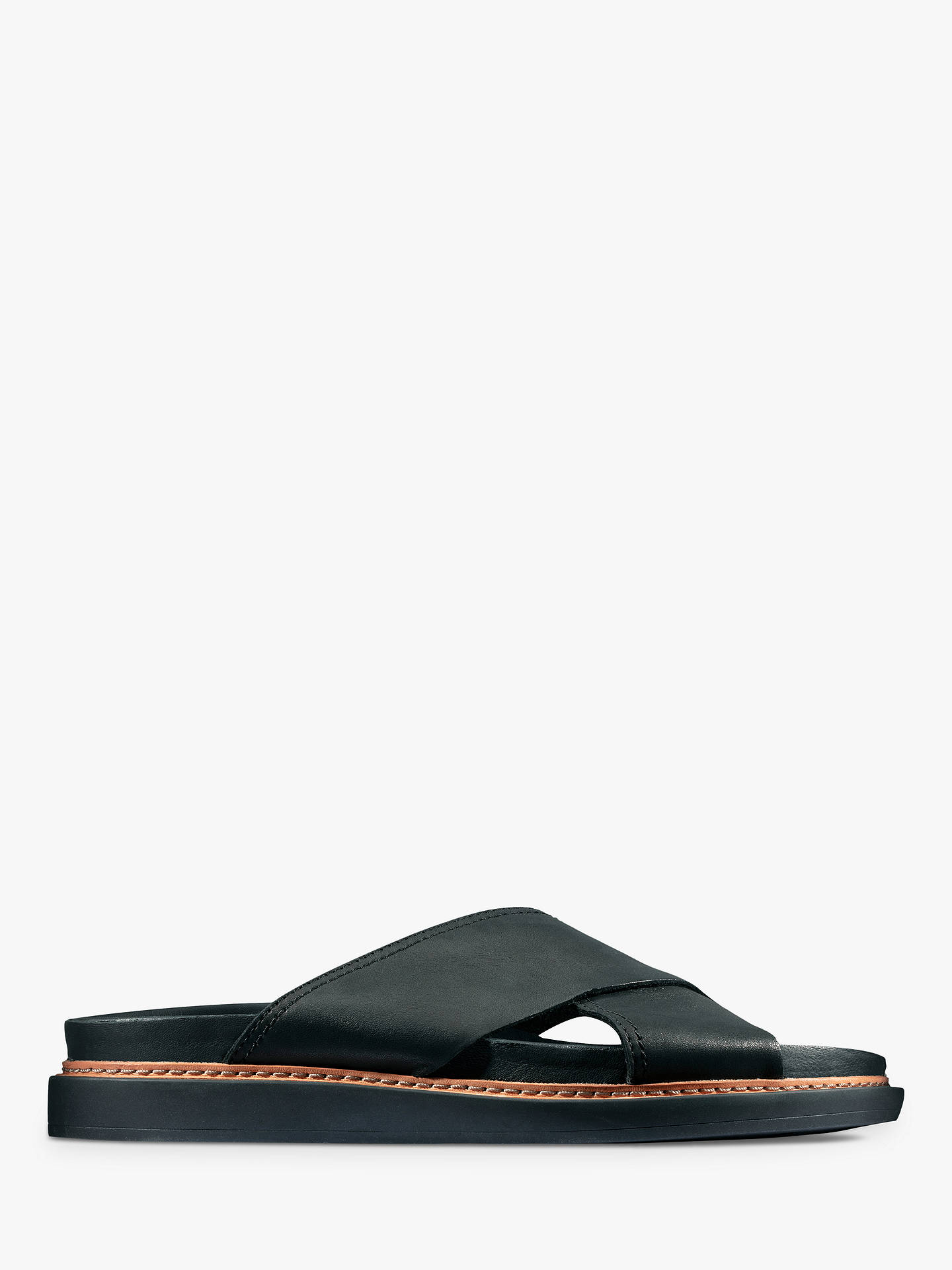 f3881f5e3ca0b Buy Clarks Trace Drift Sandals, Black Leather, 3 Online at johnlewis.com ...