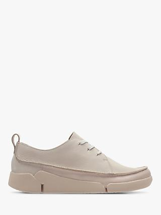 Clarks Tri Clara Wide Fit Flatform Trainers, Blush Nubuck