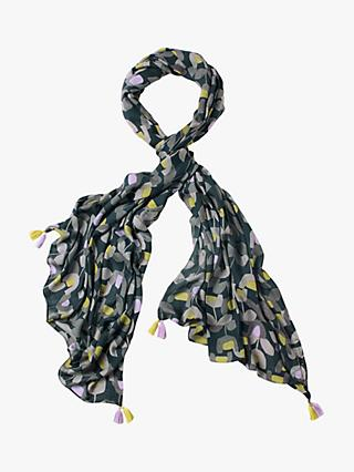 White Stuff Verity Printed Scarf, Dawn Blue