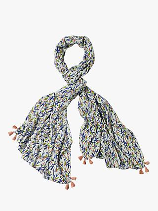 White Stuff Verity Printed Scarf, Frost Grey