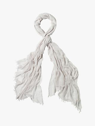 White Stuff Heart Foil Scarf, Frosty Grey