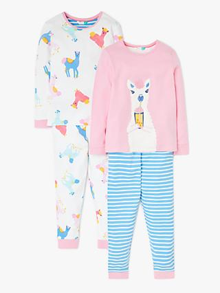 John Lewis & Partners Girls' Llama Print Pyjamas, Pack of 2, Pink/White