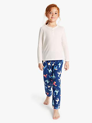 John Lewis & Partners Girls' Single Llama Print Pyjamas, White/Blue