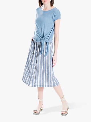 634f39788 Max Studio Button Through Stripe Midi Linen Skirt, Blue/White