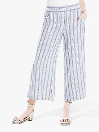 Max Studio Wide Leg Stripe Linen Blend Trousers, Blue/Off White