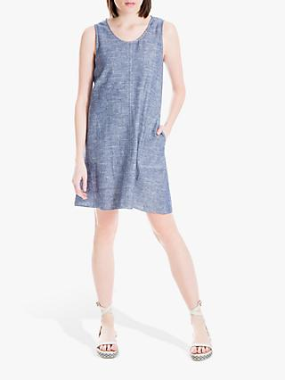 Max Studio Sleeveless Linen Blend Dress, Blue