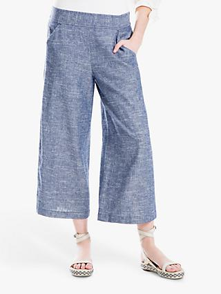 Max Studio Wide Leg Linen Blend Trousers, Blue