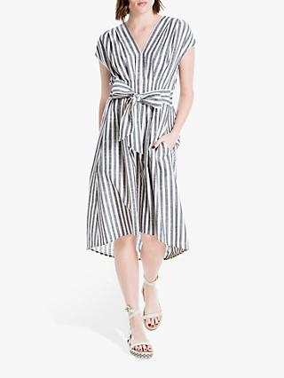 d33899abcf7260 Max Studio Cap Sleeve Tie Waist Stripe Linen Mix Dress