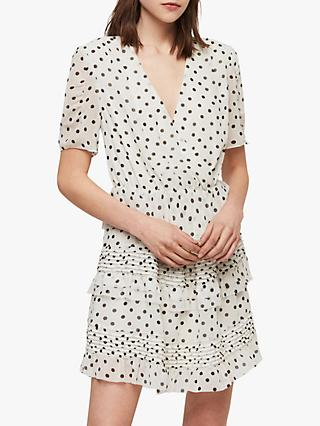 AllSaints Ilia Polka Dot Ruffle Mini Dress, White/Black