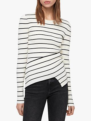 AllSaints Amara Stripe Jumper, Chalk White/Black