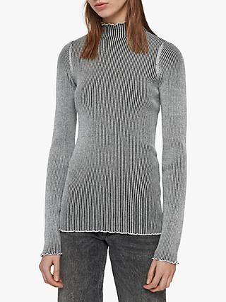AllSaints Eli Rib Stitch Jumper, Chalk White/Black