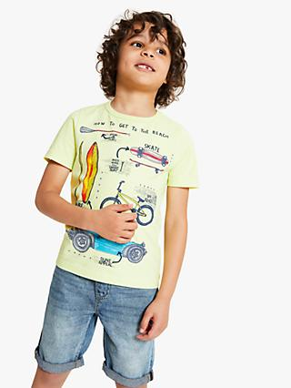 John Lewis & Partners Boys' Transport T-Shirt, Lime