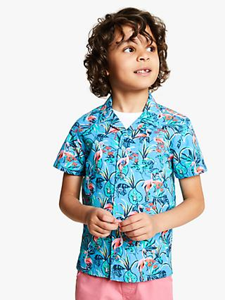 John Lewis & Partners Boys' Flamingo Print Shirt, Blue