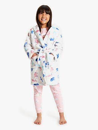 John Lewis & Partners Girls' Playful Cats Robe, White/Multi