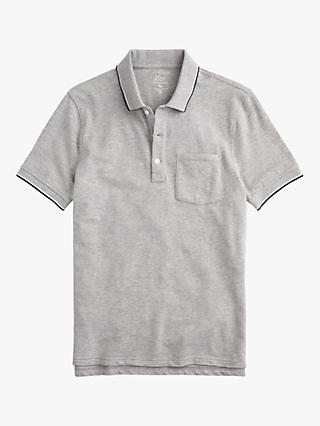 391fcb87c3c J.Crew Stretch Pique Double Tipped Polo Shirt, Heather Grey Tipped