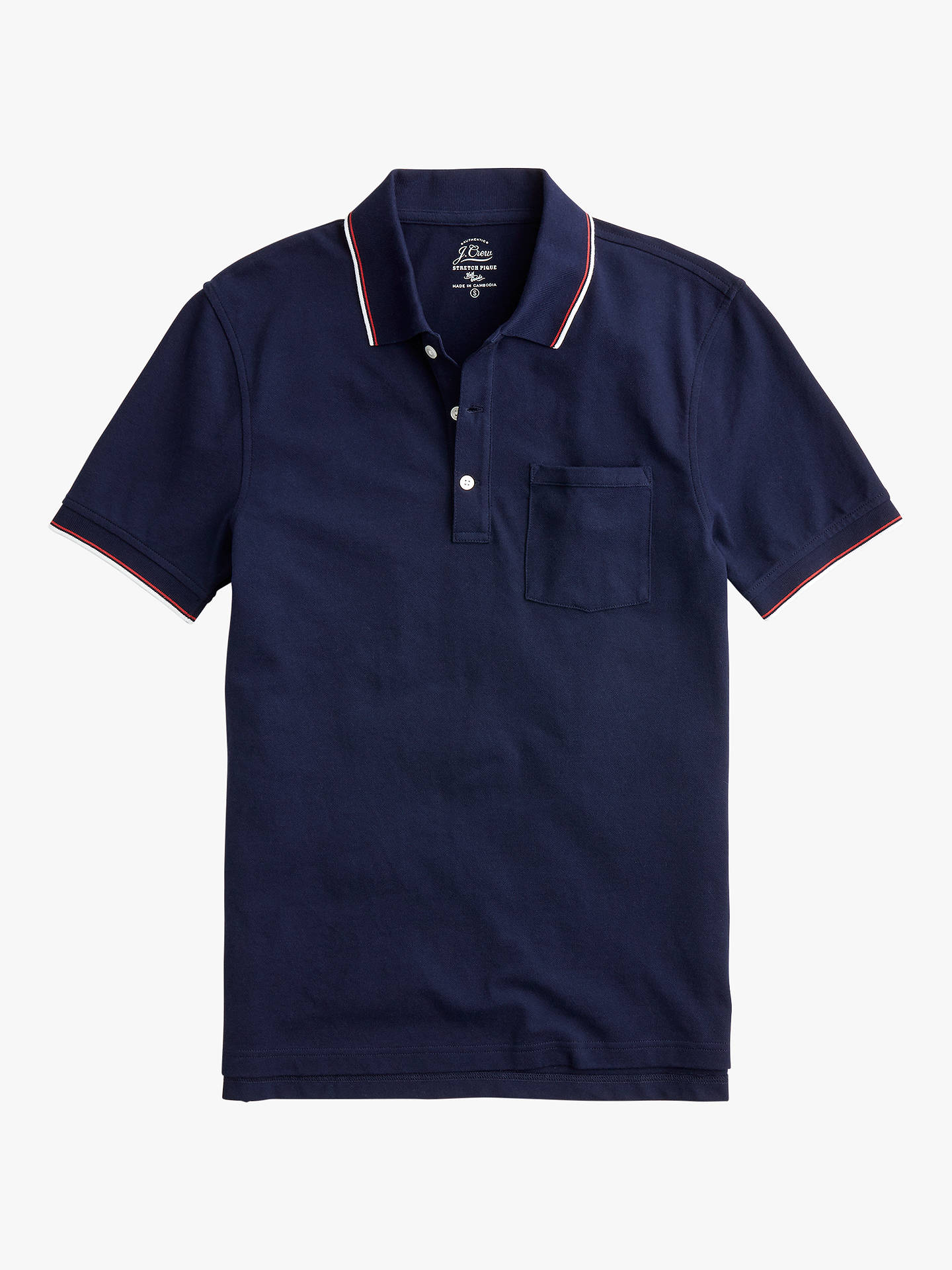 b7b3ae70 Buy J.Crew Stretch Pique Double Tipped Short Sleeve Polo Shirt, Navy Tipped,