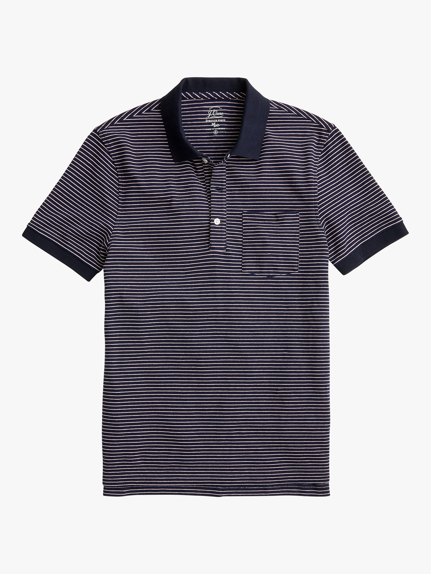 91aa02f3 Buy J.Crew Stretch Pique Stripe Short Sleeve Polo Shirt, Navy Quartz, XL
