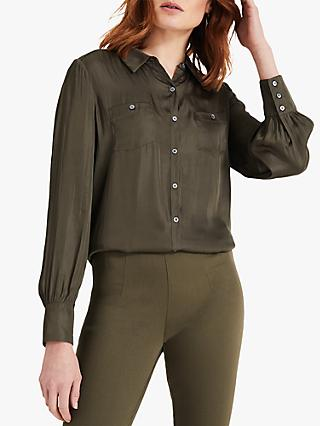 Phase Eight Tatiana Satin Shirt, Khaki