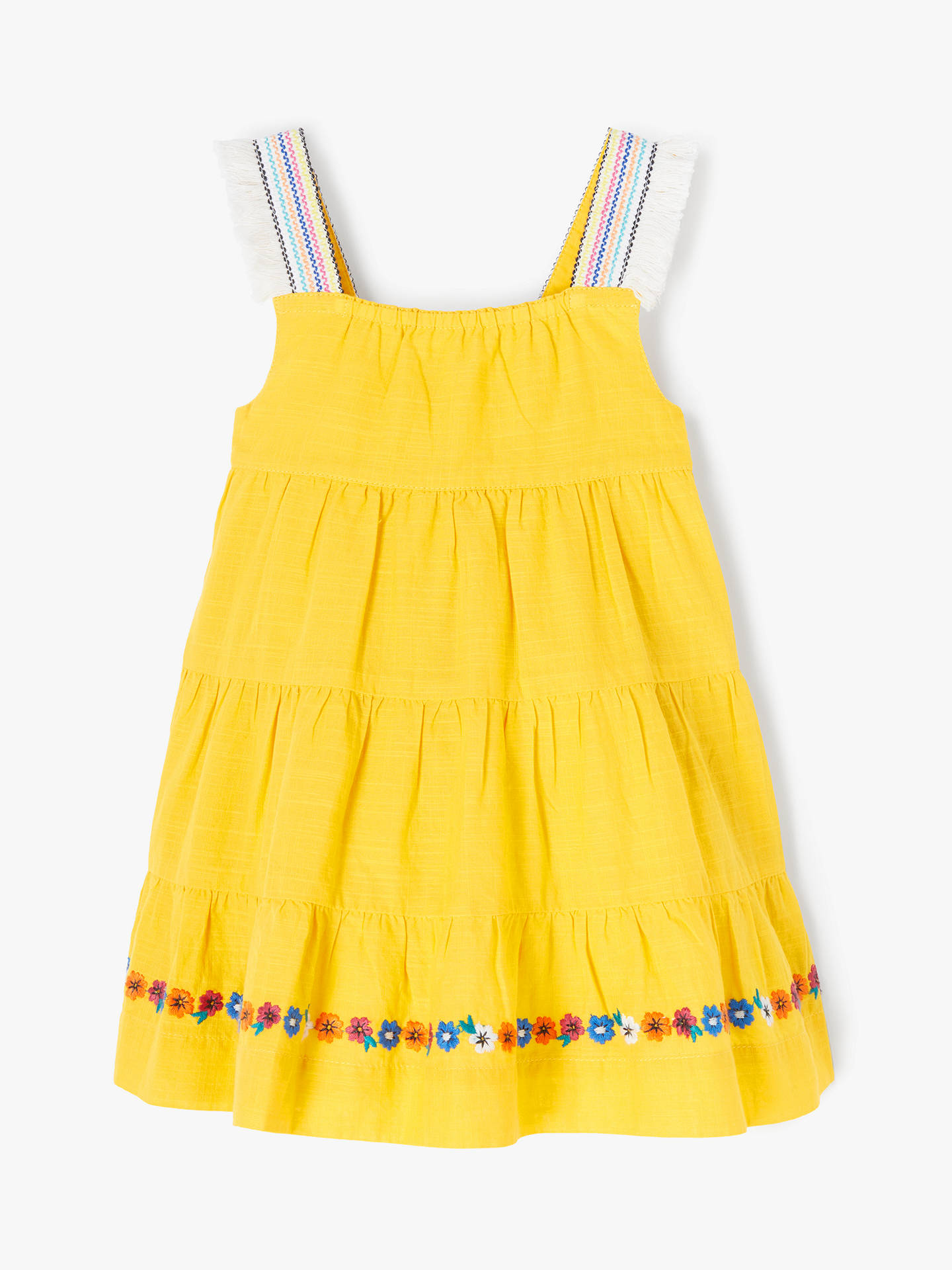 Buy John Lewis & Partners Baby Embroidered Tier Dress, Yellow, 0-3 months Online at johnlewis.com