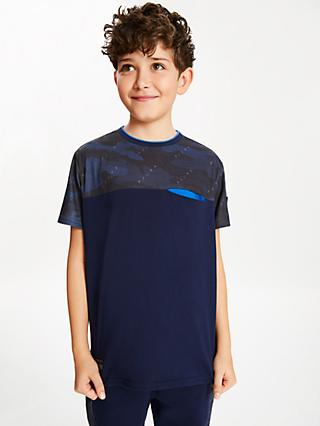Anonimasu Boys' Camouflage Panel T-Shirt, Blue