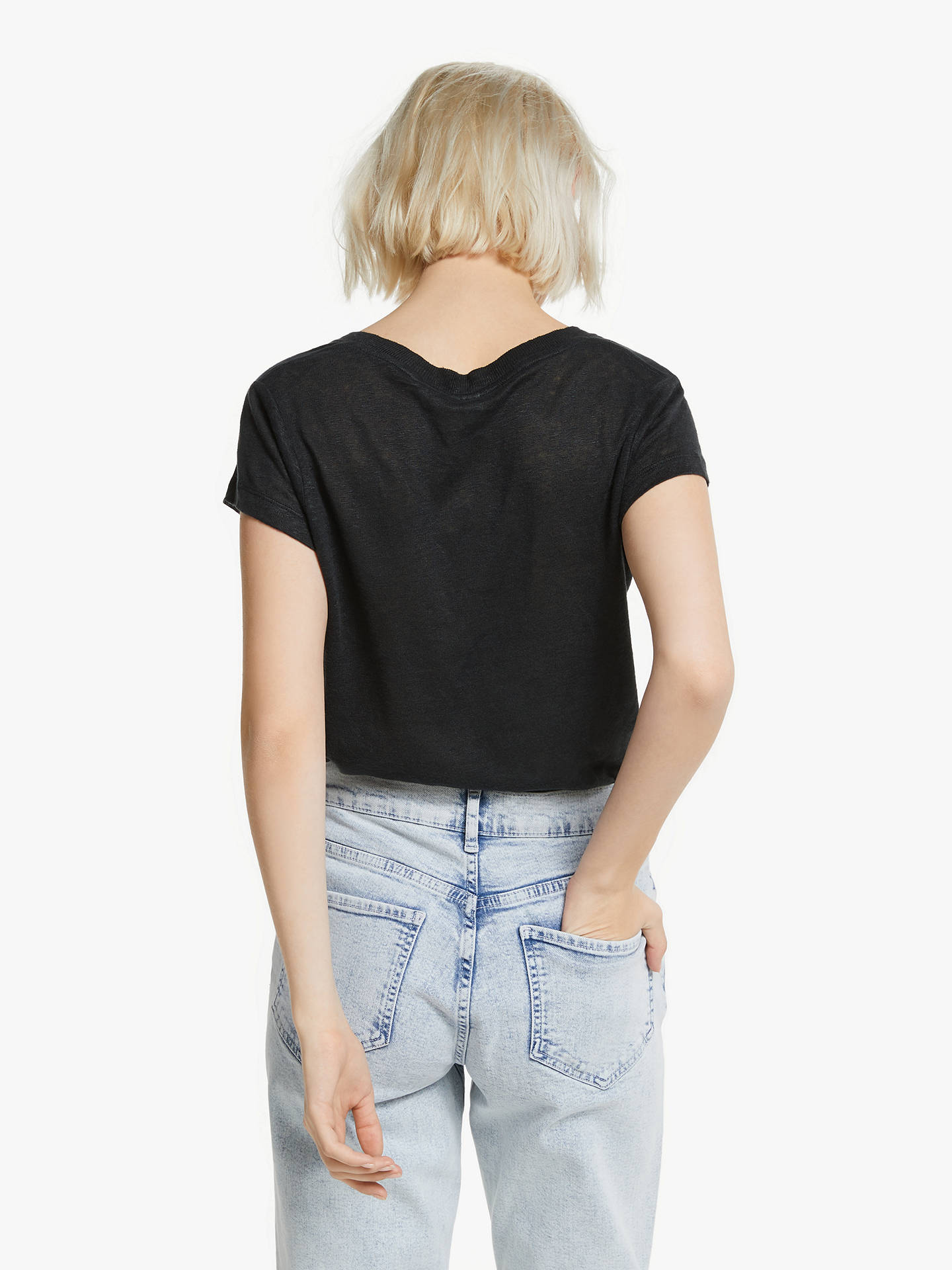 Buy AND/OR Linen T-Shirt, Black, 16 Online at johnlewis.com