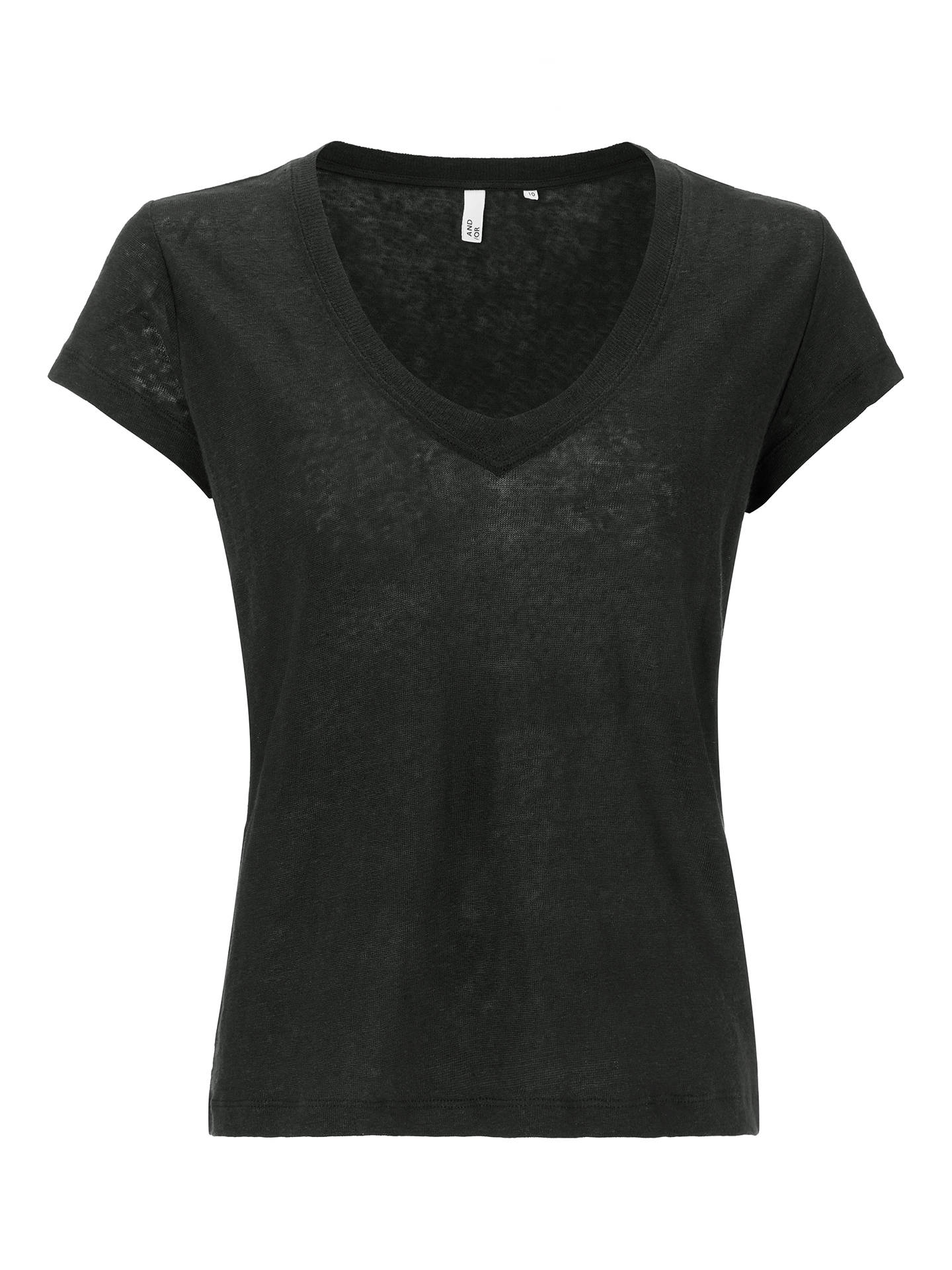Buy AND/OR Linen T-Shirt, Black, 8 Online at johnlewis.com