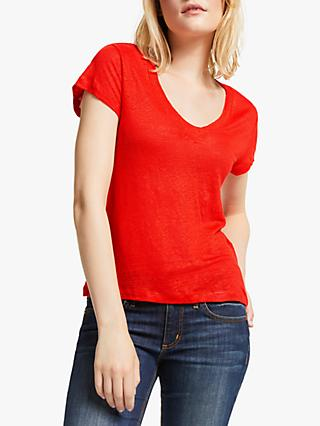 AND/OR Linen T-Shirt, Bright Red