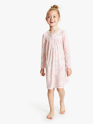 John Lewis & Partners Girls' Bunny Print Night Dress, Pink