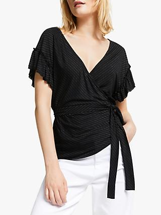 AND/OR Sienna Stripe Wrap Top, Black/Gold