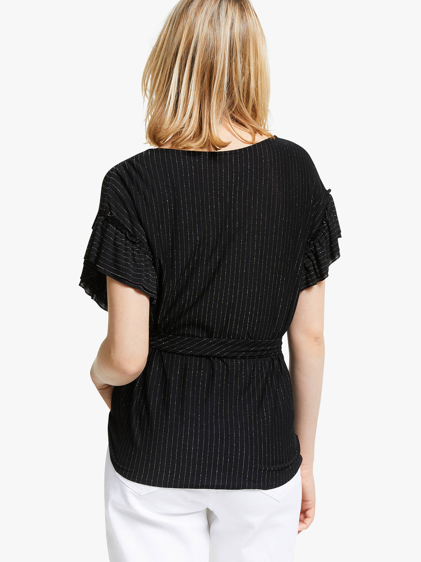 Buy AND/OR Sienna Stripe Wrap Top, Black/Gold, 8 Online at johnlewis.com