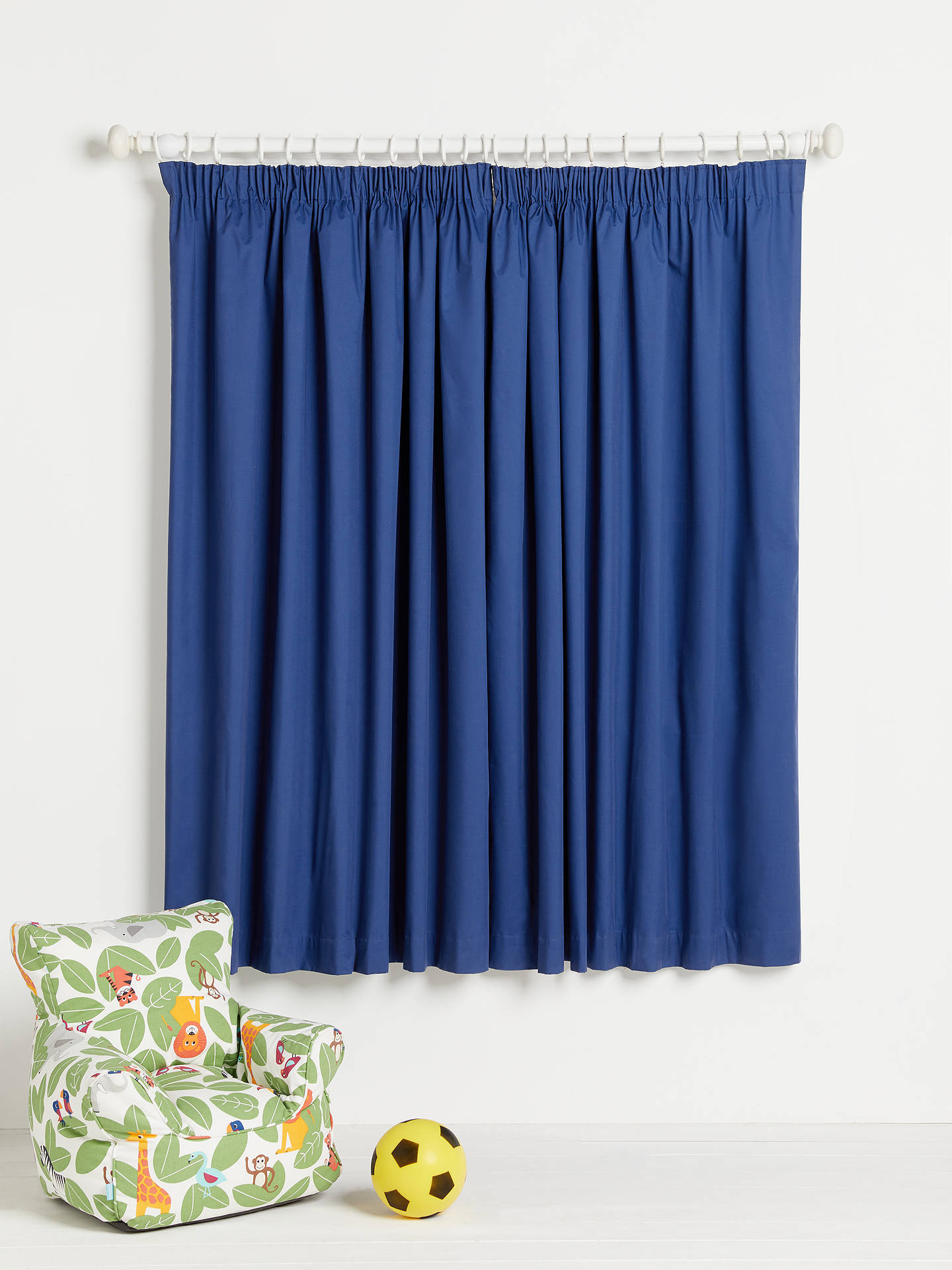 Buy little home at John Lewis Plain Pencil Pleat Blackout Lined Children's Curtains, Navy, W117 x Drop 137cm Online at johnlewis.com