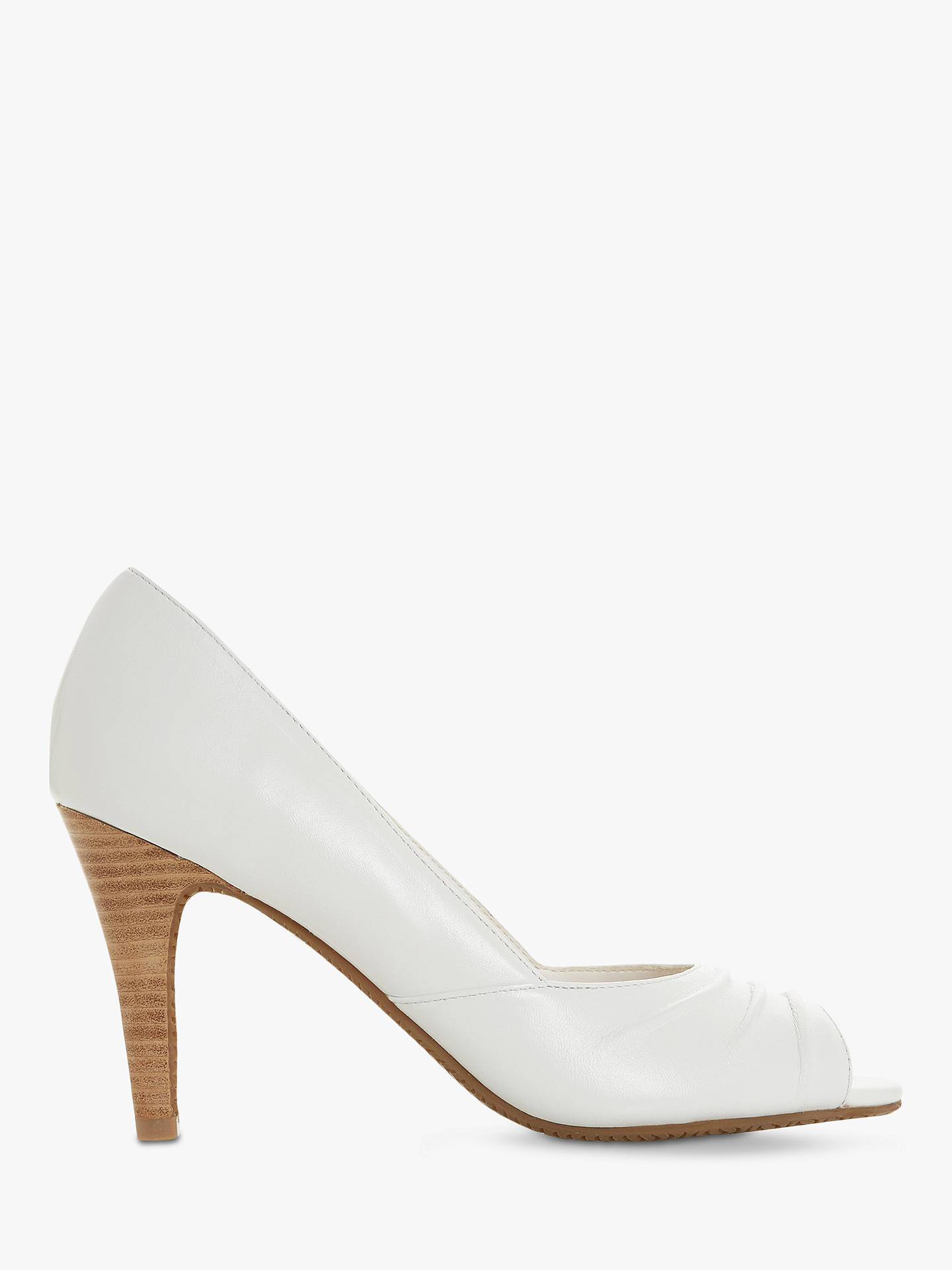 b08107b4219f Buy Dune Christey Open Toe Court Shoes, White Leather, 8 Online at  johnlewis.
