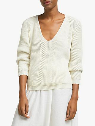 John Lewis & Partners Rib V-Neck Sweater