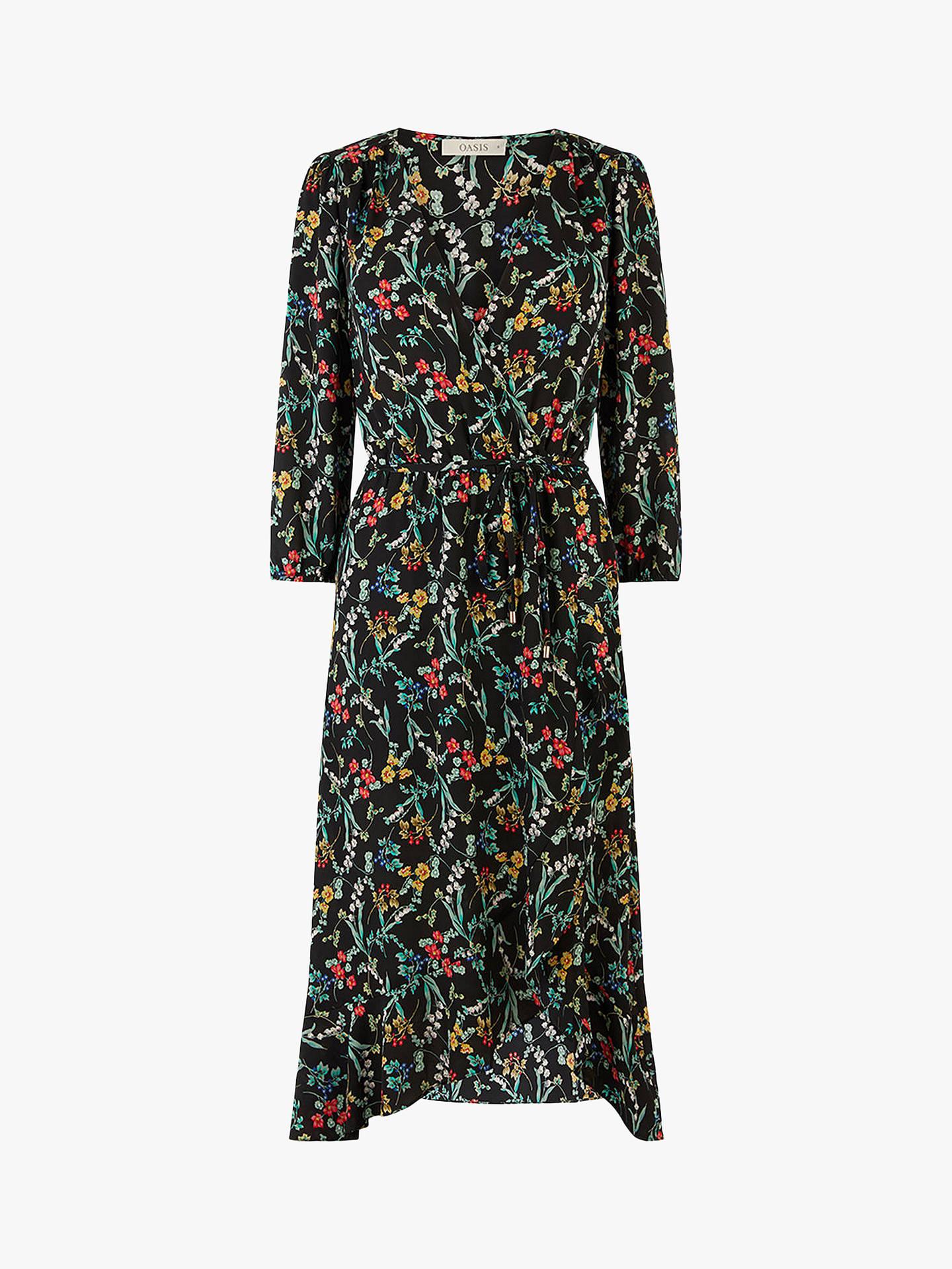 6dcd754050fa Buy Oasis Flower Wrap Midi Dress, Multi Black, 8L Online at johnlewis.com
