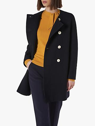 L.K.Bennett Tammie Double Breasted Button Detail Coat, Navy