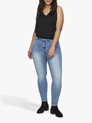 JUNAROSE Curve Queen Michelle Slim Jeans, Medium Denim Blue