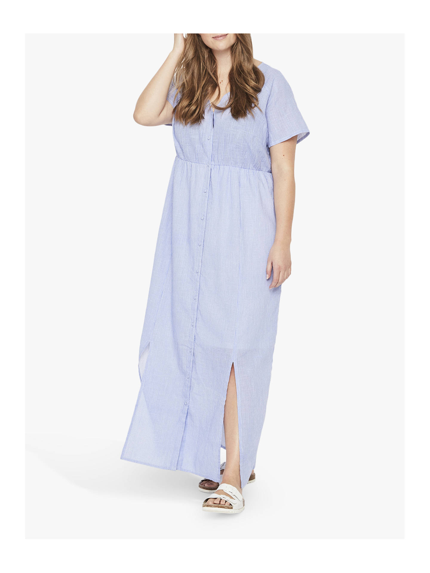 20ff97b083db7 JUNAROSE Curve Button Down Maxi Dress, Blue at John Lewis & Partners
